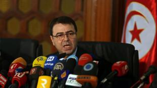 Bộ trưởng Nội Vụ Tunisia Hédi Majdoub, trong một cuộc họp báo tại Tunis. Ảnh ngày 19/ 12/2016.