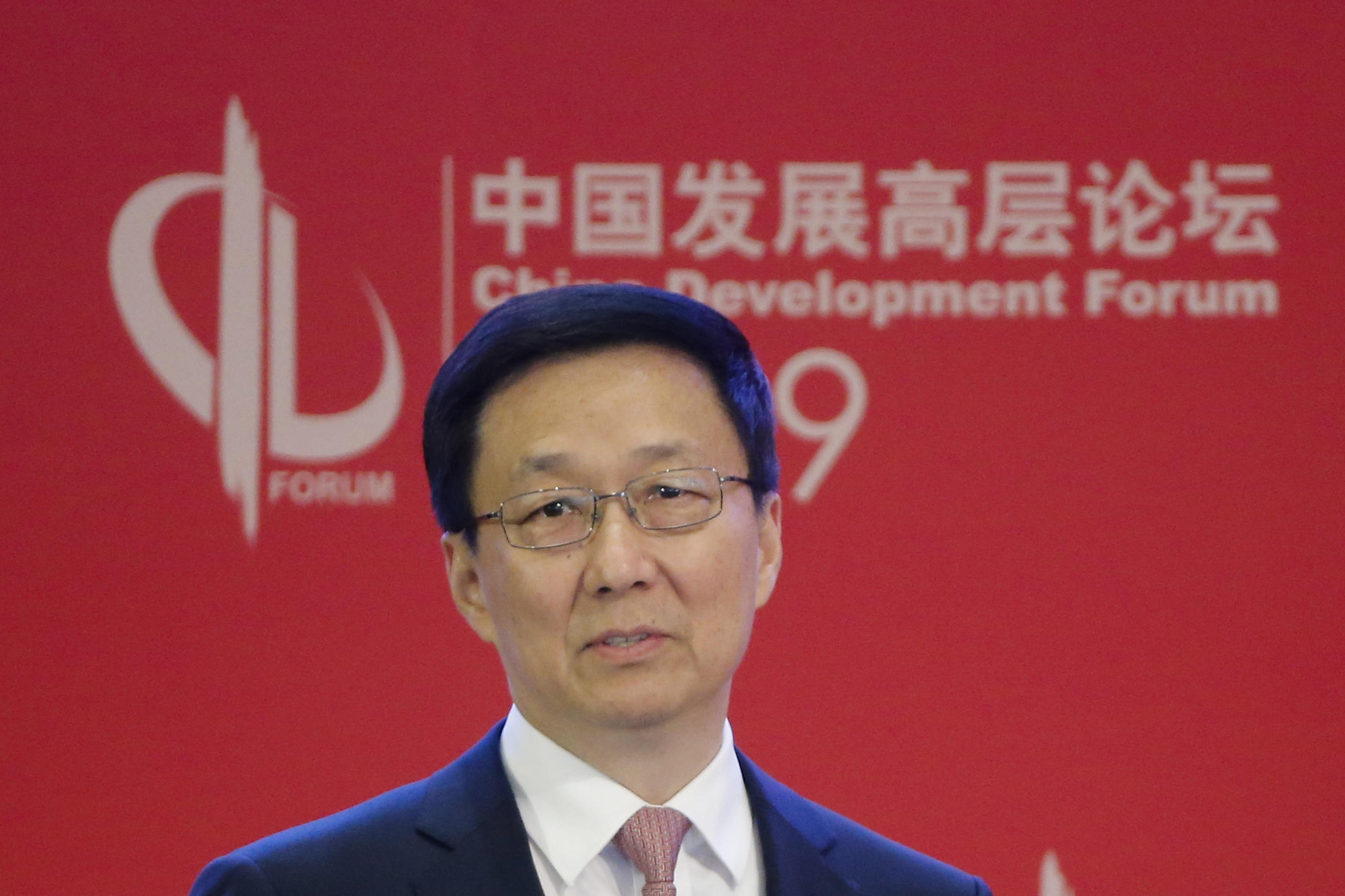 Chinese Vice-Premier and Politburo member Han Zheng. the CCP's Belt and Road point man speaking during the China Development Forum in Beijing, 24 March 2019