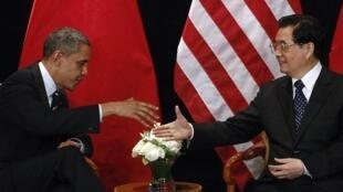 Le président américain Barack Obama et le président chinois Hu Jintao, à Séoul, le 11 novembre 2010.