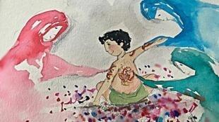 Dessin de Silvia Rocca Fantini librement inspiré d 'Ecouter Tunis dans la valise sonore d'Irène Berelowitch