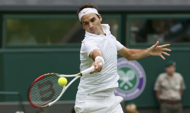 Roger Federer yana fafatawa a Wimbledon