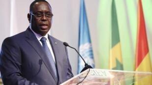 Le président sénégalais Macky Sall, lors d'un discours à la Conférence internationale sur l'émergence de l'Afrique, le 28 mars 2017 à Abidjan.