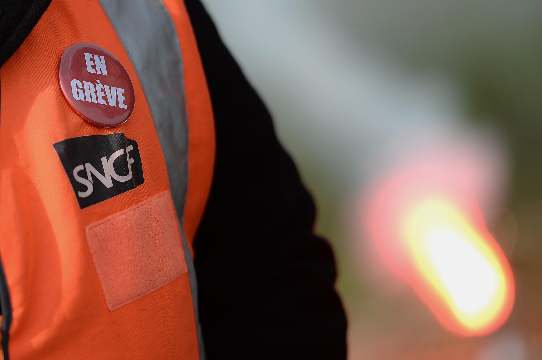 On strike - a railworker at Saint-Nazaire, eastern France