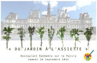 """""""Do jardim para mesa"""" este foi o tema do restaurante efêmero, montado em frente da prefeitura de Paris."""