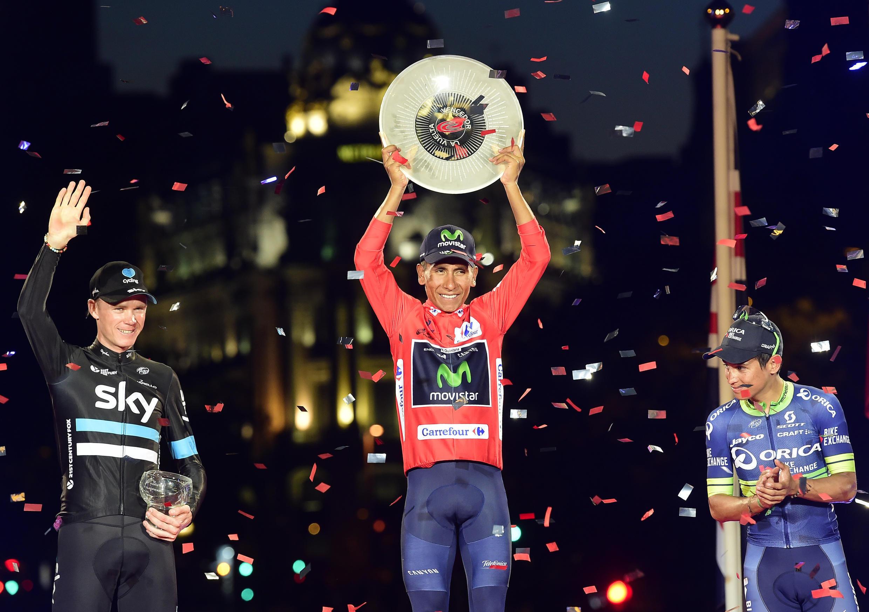 Nairo Quintana (Movistar) ganó la Vuelta a España 2016, ante Christopher Froome (Sky) y Esteban Chaves (Orica-BikeExchange).