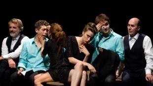 Adèle Haenel dans la pièce «L'abattage rituel de Gorge Mastromas» au Théâtre-Studio d'Alfortville dans une mise en scène de Maïa Sandoz.
