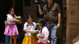 Philippe Diaz filming in Sucre, Bolivia