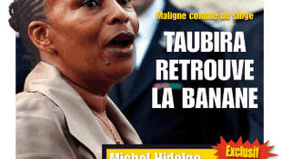 The front page of Minute insutling Justice Minister Christiane Taubira.