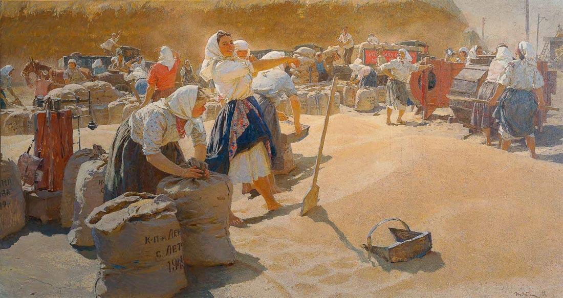 «La Récolte des grains» (1949), galerie Tretiakov à Moscou. Cette huile sur toile, peinte par l'une des plus célèbres peintres ukrainiennes Tetyana Yablonska, illustre la puissance agricole de l'ancien grenier à blé de l'URSS.