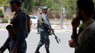 Cảnh sát Afghanistan tuần tra tại Kaboul. Ảnh ngày 04/06/2018.