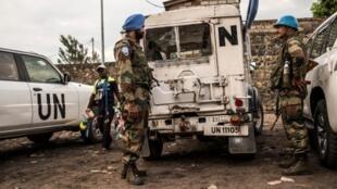 Des casques bleus indiens de la Monusco en mission de surveillance dans Goma, en novembre 2016 (photo d'illustration).