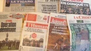 Capas dos diários franceses 6/04/2016