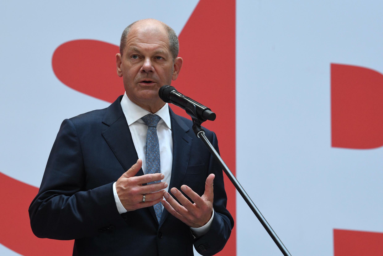 德國社民黨總理候選人肖爾茨 Olaf Scholz 2021年9月24日