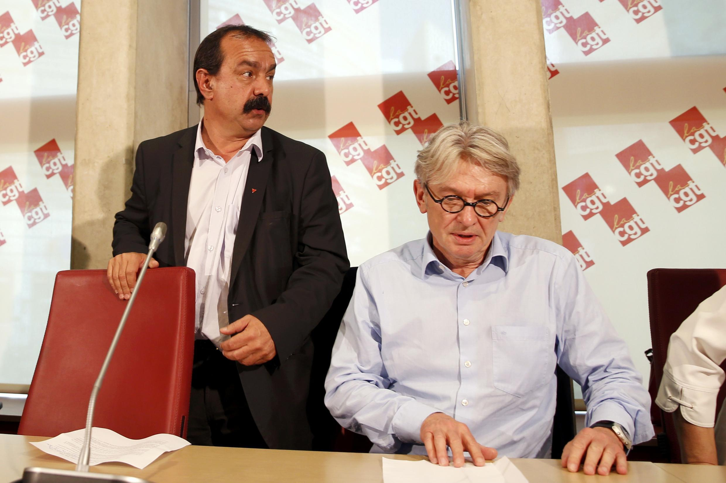 CGTleader Philippe Martinez and Force Ouvrière's Jean-Claude Mailly at a press conference on Wednesday