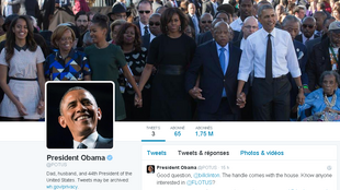 Le profil de Barack Obama sur le compte @POTUS pour Président des Etats-Unis.
