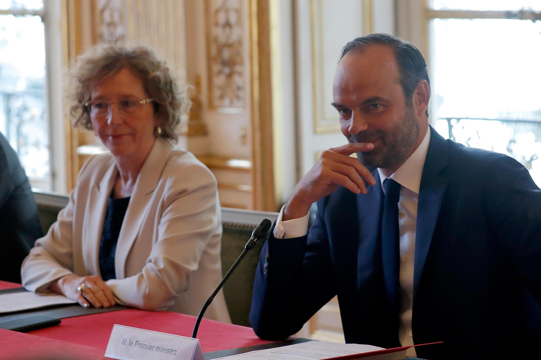 Премьер-министр Франции Эдуар Филипп и министр труда Мюриэль Пенико, 31 августа 2017 г.