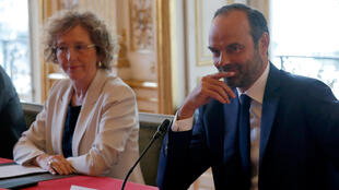 French Prime Minister Edouard Philippe and Labour Minister Muriel Penicaud present the government's labour reform bill on September 11.