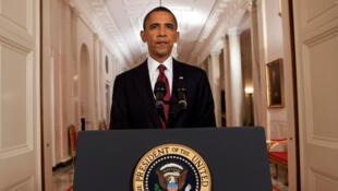 Le président Barack Obama lors de son allocution à la nation pour annoncer la mort de Ben Laden, le 1er mai 2011. pa