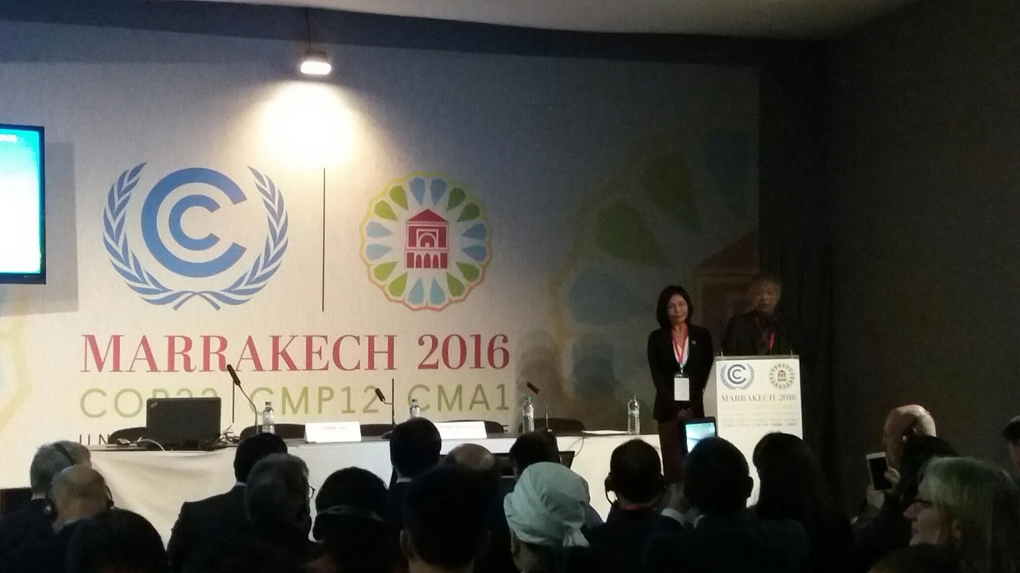 中國阿拉善SEE基金會與中歐社會論壇在馬拉喀什氣候峰會聯合舉辦應對氣候變化,共建生態文明的邊會,2016年11月16日。