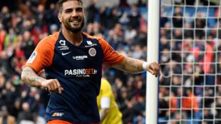 L'attaquant de Montpellier Andy Delort après un but contre Saint-Etienne, le 9 février 2020 à La Mosson
