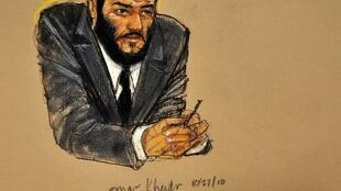 Ilustración del aspecto actual de Omar Khadr, el 'niño soldado de Guantánamo'.