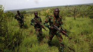 Des soldats ivoiriens des FRCI, lors de l'exercice mené ce wekk-end à Lomo-Nord, avant le départ de l'escadron pour le Mali, où il doit rejoindre la Misma.