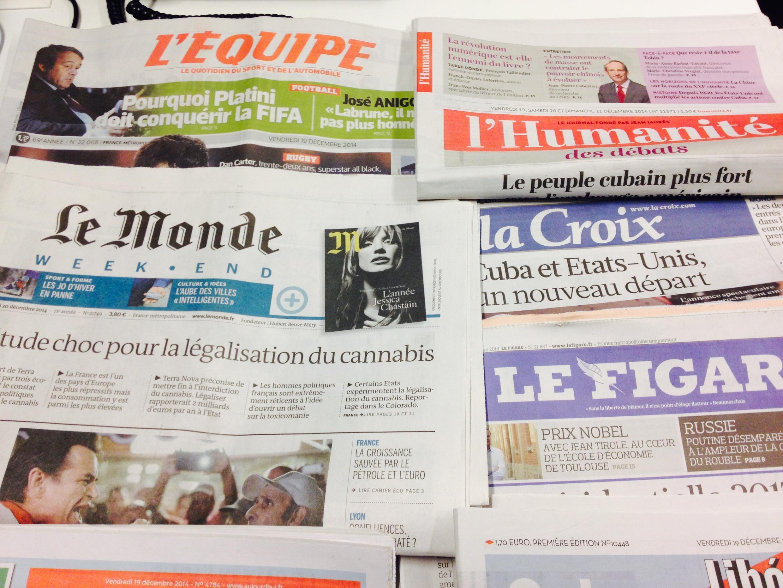 Primeiras páginas dos diários franceses de 19/12/2014