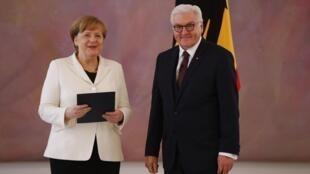Bà Angela Merkel sau khi được bầu lại làm thủ tướng Đức, Berlin, 14/03/2018.