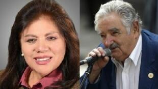 A deputada conservadora boliviana Norma Piérola e o ex-presidente uruguaio José Mujica.
