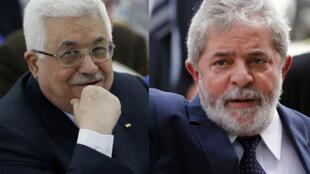 Le président de l'Autorité palestinienne, Mahmoud Abbas (G) et le président brésilien, Luiz Inacio Lula da Silva (D).