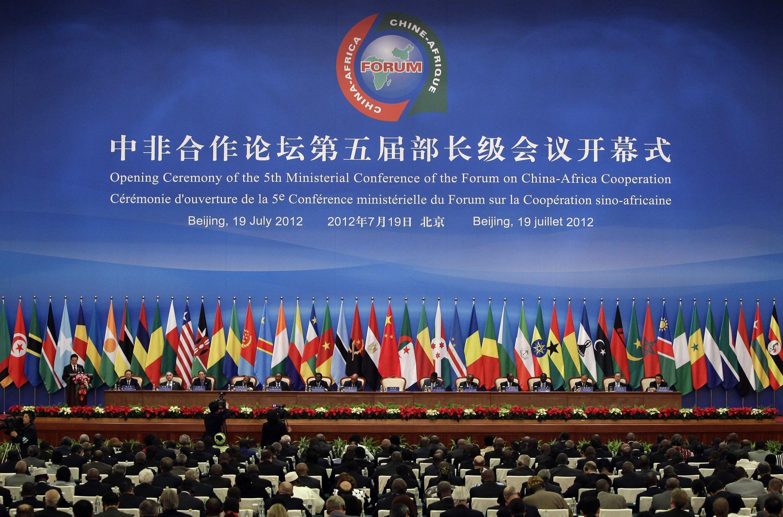 Chủ tịch Trung Quốc Hồ Cẩm Đào phát biểu trong buổi khai mạc Diễn đàn Hợp tác Trung Quốc – Châu Phi (FOCAC) lần thứ 5 tại Đại sảnh đường Nhân dân, Bắc Kinh ngày 19/07/2012.