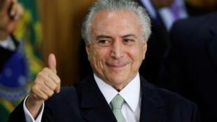 El presidente interino de Brasil, Michel Temer, en su toma de posesión este 12 de mayo de 2016.