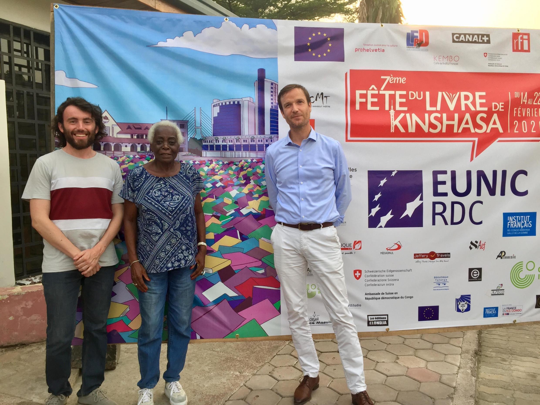 Etienne Russias, Mambou Aimée Gnali et Samuel Pasquier à Kinshasa (février 2020).