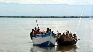 Small fishing boats seen on Lake Albert, near Uganda.