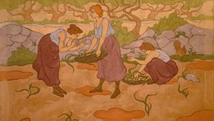 Paul Ranson. Trois femmes à la récolte 1895, peinture à la colle sur toile 35 x 195 cm, St Germain En Laye, Musée départemental Maurice Denis.