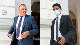Le Français Jérôme Valcke (à gauche) et le Qatarien Nasser al-Khelaïfi, lors de leur procès.