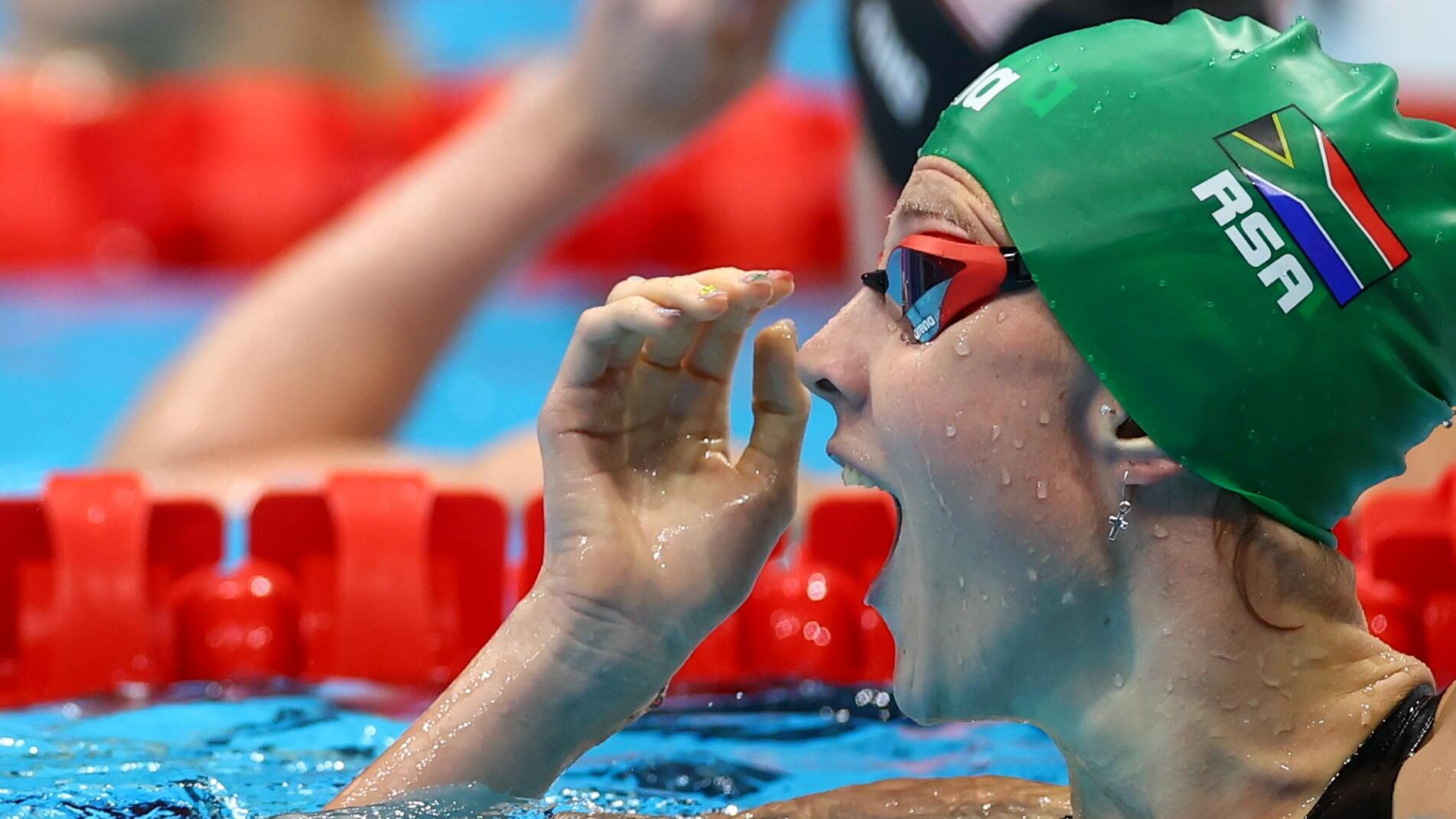 La nageuse sud-africaine Kaylene Corbett après sa demi-finale du 200 mètres brasse, aux Jeux olympiques de Tokyo le 29 juillet.
