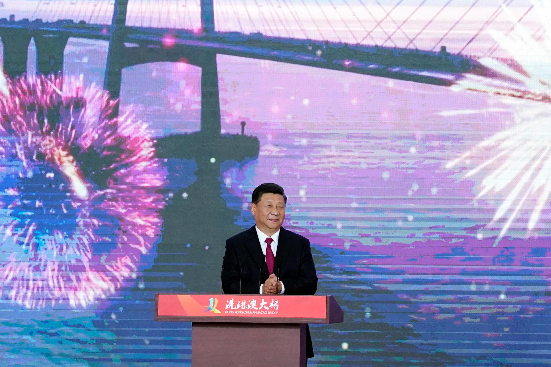 圖為中國國家主席習近平2018年10月23日參加珠海連接港澳大橋通車儀式