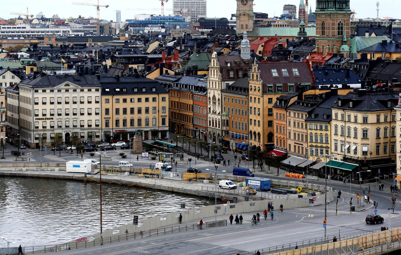 图为瑞典斯德哥尔摩以街区市景
