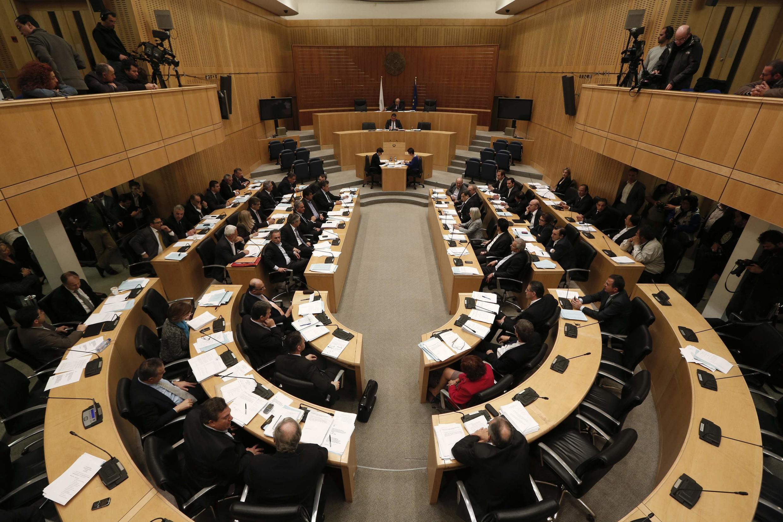 Le Parlement de Chypre, en session spéciale le 22 mars à Nicosie.