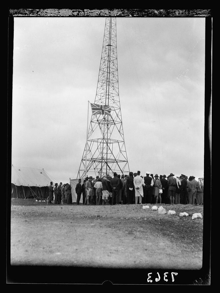 Crowds near broadcasting tower in Ramallah at inauguration of PBA, March 30th 1936