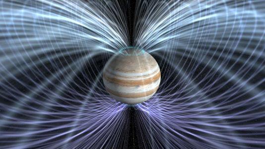 Vista artística de campos magnéticos envolvendo planeta Júpiter