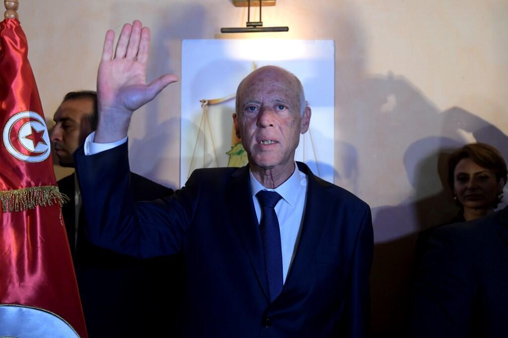 Kaïs Saïed peu après l'annonce de sa victoire à l'élection présidentielle, le 13 octobre 2019 à Tunis.