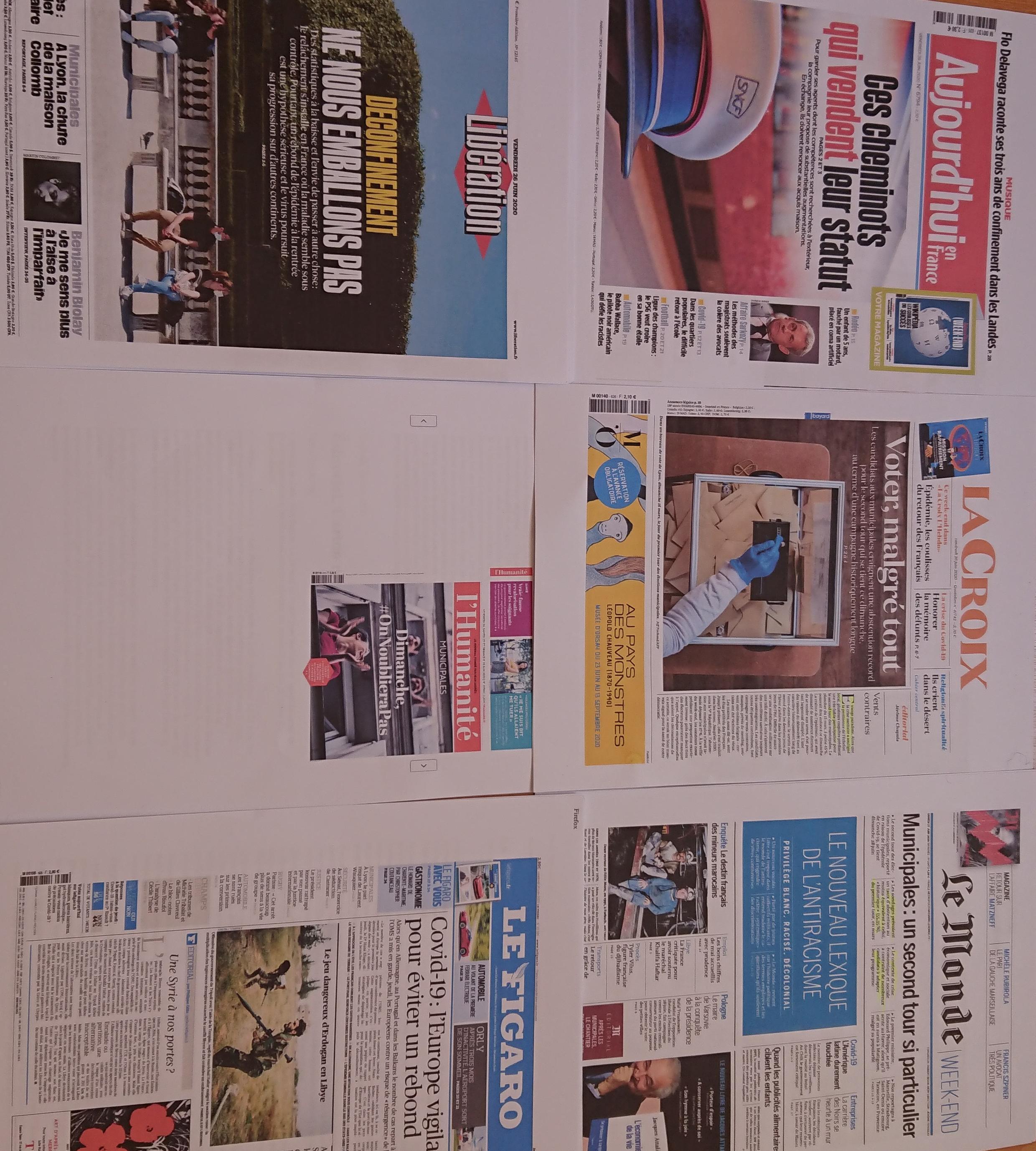 Primeiras páginas  de  diários  franceses 26 06 2020