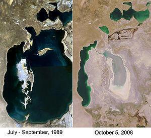 Comparaison par images Satellite de la mer d'Aral entre 1989 et 2008