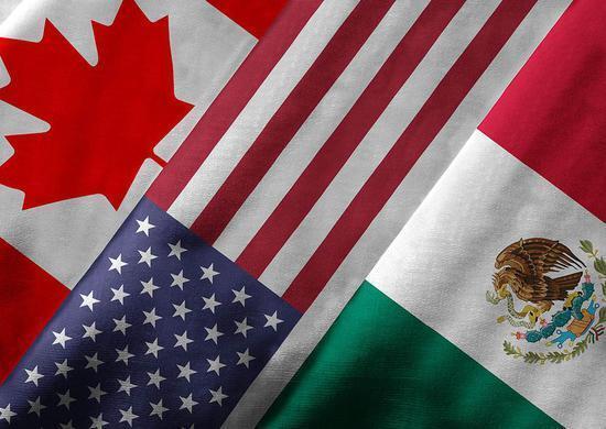 圖為美墨加三國國旗合成圖