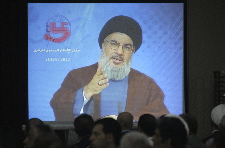 Líder do Hezbollah Sayyed Hassan Nasrallah discursa em vídeos para seus apoiadores em Beirute, no último dia  19 de julho de 2013.