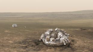 """A sonda e o módulo de pouso """"Schiaparelli"""" constituem a primeira etapa da ExoMars, uma ambiciosa missão científica russo-europeia dividida em duas fases (2016 e 2020). Imagens de ilustração."""