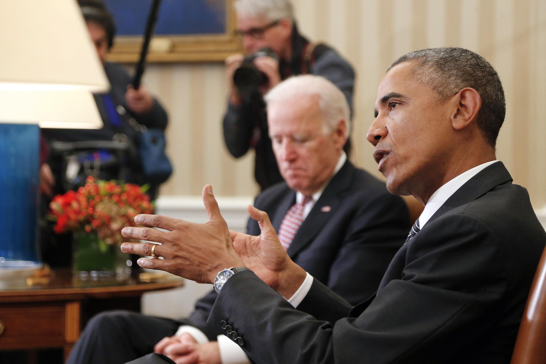 Tổng thống Hoa Kỳ Barack Obama nói chuyện với các phóng viên, Nhà Trắng, 17/02/2015..