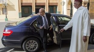 French Foreign Minister Jean-Yves Le Drian arrives for a press conference with his Moroccan counterpart Nasser Bourita in Rabat